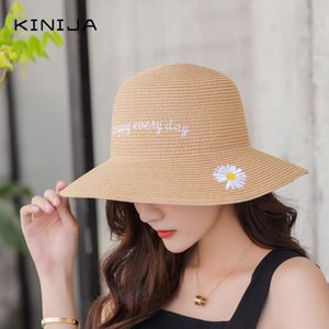 été Crème solaire Chapeau de paille respirant Net Red Hat coréen Outdoor Beach Voyage Little Daisy pêcheur seau femme