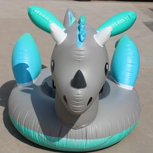 Australia Silver Dragon Inflatable Floats Dinosaur Unicorn Thickening Swimming Ring Fold Portable Anti Wear Summer Beach Hot Sale 99ydI1
