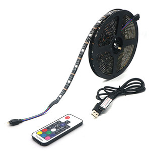 Umlight1688 USB LED Strip 5050 RGB TV Sfondo Kit di illuminazione tagliabile con 17 tasti RGB LED Controlle 5M / 1M / 2M Set