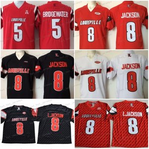 NCAA de los hombres de Louisville Cardinal 8 Lamar Jackson camisetas de fútbol Rojo Negro Blanco cosido Jersey Bridgewater 5 Buena orden de la mezcla 150