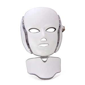2020 PDT 7 Color LED light Therapy face Beauty Machine LED Facial Neck Mask With Microcurrent for skin whitening device