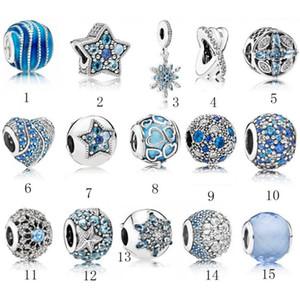 S925 Sterling Silver Jewelry DIY Big Beads Se adapta a Ale Charm para brazaletes de pulseras para las mujeres para las pulseras europeas de BlueColor