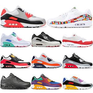 2020 90 zapatos corrientes de las mujeres para la universidad para hombre internacionales de la bandera Paquete infrarrojo Cojines Deporte South Beach Red Diseñador zapatilla de deporte