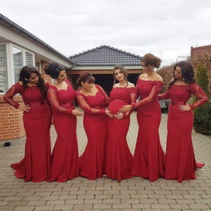 2019 Elegant Red Off the Shoulder Bridesmaid Dresses Long Sleeves Lace Applique Chiffon Sweep Train Mermaid Wedding Guest Party Gown