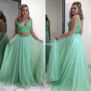 Shiny Two Pieces Prom Dresses 2020 V-Neck Sequins Beaded Zipper Back A-Line Graduation Evening Formal Gowns Sweep Train Robe De Soriee