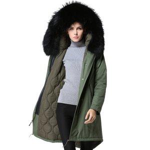 En Yeni Ordu Yeşil Uzun tarzı Mr kış kürk, Real Rakun Siyah Coolar,% 100 pamuk kış bayan ceket, Fabrika Fiyat ceket