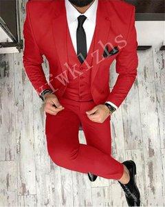 Custom-made Notch Lapel Groomsmen One Button Groom Tuxedos Men Suits Wedding Prom Dinner Best Man Blazer(Jacket+Pants+Tie+Vest) W213