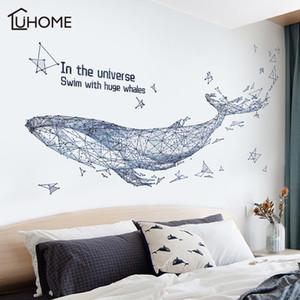 Sala de cielo estrellado abstracto geométrico 3D ballena Big Fish pegatinas de pared Mobiliario de estar Decoración etiqueta de la pared Decoración Arte Y200103
