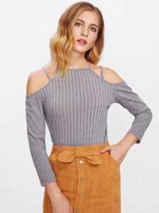 Frauen Kälte weg von der Schulter dünne lange Hülsen-T-Shirt Party-Tops Shirts Frauen-Damen kurze Normal Warm Langarm-T-Shirts Top