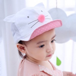 Cartoon Cat Baby Hat Baseball Cap Summer Mesh Baby Girl Boy Hat With Ears Cotton Adjustable Infant Toddler Girls Visor Sun