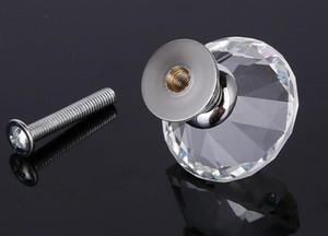 40mm Temizle Elmas Şekli Kristal Cam Çekme Kolu Dolabı Dolabı Çekmece Kapı Mobilya Topuzu