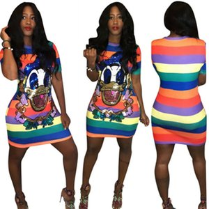 2019 New Paillettes Duck Cartoon Colorful T Shirt a righe Dress Women Plus Size manica corta Mini T Shirt Femme Summer Party Pencil Dress