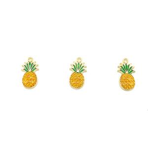 Fascini della frutta dello smalto di colore giallo di colore giallo dell'oro dell'ananas dei pendenti di fascino per i monili fatti a mano dei monili che fanno i risultati 40pcs / lot all'ingrosso