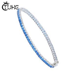 Delicate Cadeia S925 Sterling Silver arco-íris CZ Cuff Charm Bracelet pavimentada minúsculo Sparking brilhante CZ do arco-íris para mulheres pedra