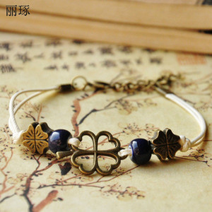 Jingdezhen cerámica étnica joyas de las damas azul estilo cuerda pulsera de las mujeres de la joyería ajustable del trébol