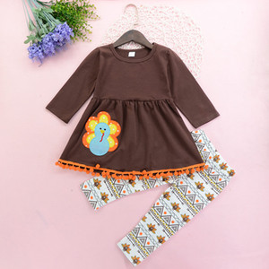 NEW Baby Girls Thanks Giving Day Outfit Girls 3 Pieces set dress + Pant + Headband kids Clothing sets