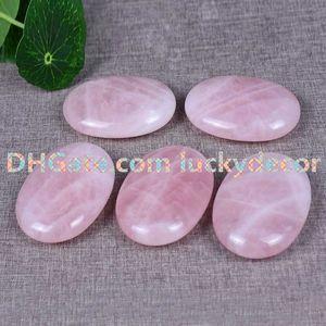 10 Pz 70 * 50mm Naturale Quarzo Rosa Palm Stone Verde Aventurine Energy Pocket Clear Crystal Healing Gemstone Preoccuparsi Terapia Liscio Forma Ovale