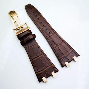 27mm braunes hochwertiges Lederband 18mm Faltschließe 4 Anschluss 4 Schraube 2 Verbindungsglied für AP Royal Oak 15400/15300