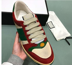 2019 TOP Size 35-44 Hombres Mujeres Diseñador de zapatos Distressed Screener Dapper Dan Suede Sneakers Italian Luxury Shoe Unisex Casual Shoe m18903