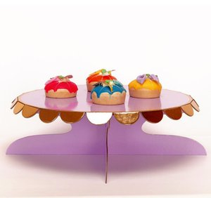 Party Decoration Dessert Rack Monolayer Paper Round Candy Color Disposable Children Cake Stands Birthday Products