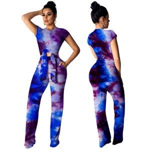 3 색 여성의 두 조각 넓은 다리 디지털 인쇄 바지 높은 허리 캐주얼 착용 숙녀 여름 방학 복장 은하 인쇄 Streetwear