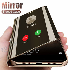 Smart Mirror Leather Case لسامسونج غالاكسي S21 Ultra S20 Fe Note 20 A72 A52 A42 A32 A12 A02S A71 A51 5 جرام A41 A31 A21 A21S A11