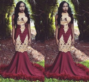 2020 Charming Burgundy With Gold Appliques Prom Dresses Black Girls South African Evening Gowns Mermaid High Neck Long Vestidos