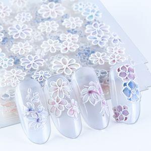 Белые цветы 5D Резные ногтей наклейки гравированные Лепесток Slider самоклеющиеся Таблички Nail Art Decoration Полная Wrap BE1019