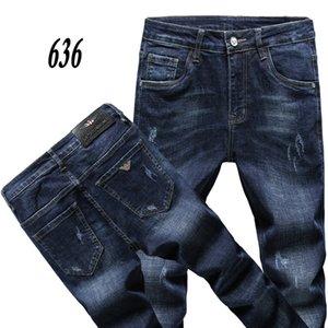 636 AJ-KOT 2020 İlkbahar Yaz Pantolon Stretch kot pamuk pantolon pantolon düz iş olağan biçimde yıkanmış Erkek pantolonu pant