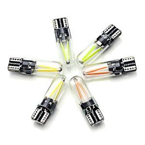 W5W led T10 cob glass luz del coche Led filamento auto automóviles lectura domo bombilla DRL car styling 12v
