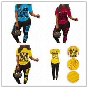 Women Clothing BLACK FATHERS MATTER Tracksuit Designer Letter Crew Neck T-shirt + Patchwork Pants Sports Suit Summer Two Piece Outfits D7105