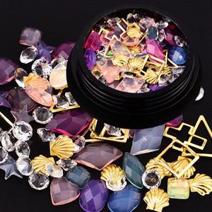 Nail Art Décoration Diamants strass cristal 3D Gem Perles Breloques Métal brillant Glitter Croix accessoire Shell Nail Manucures Maquillage Outil bricolage