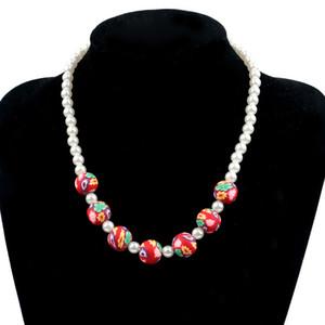 Colar de pérolas de cerâmica macia para criança Pulseira de colar de crianças novas da Coréia do Sul Beading de mão 3 jóias de cor A princesa camisola cadeia um