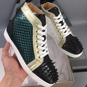 Green Vision Leather High Top Red Bottom Sneakers For Men,Women Platform Casual With Pik Pik Spikes Luxury Dress Wedding Walking With Box