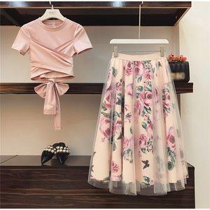 Cópia floral das mulheres T saia de malha Ternos bowknot Dois Vintage Conjuntos peça elegante mulher saia 2019 Summer Girl Tees Tops Feminino