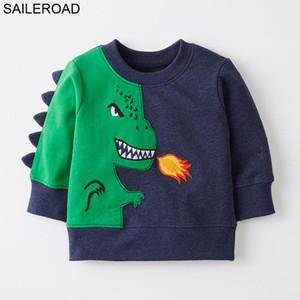 SAILEROAD 2-7Years Sudadera para Niños Dinosaurio de Dibujos Animados Sudadera Cálida para Niños Camisetas de Manga Larga Otoño Ropa para Niños