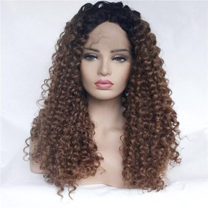 Ombre Brown Afro Curly Synthetic Lace Front Wig Two Tone Kinky Curly Synthetic Lace Wigs High Temperature Fiber Synthetic Wigs For Women
