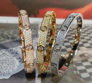 Diamante pieno di lusso in acciaio inox L360 braccialetto delle donne Mens Fashion designer amore ghiacciato fuori Bracciali braccialetti del polsino cacciavite Gioielli