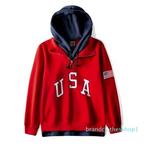 bandiera americana ricamato incappucciati con cappuccio degli uomini di stampa USA pullover rosso cotone a maniche lunghe con cappuccio progettista falso due pezzi giacca streetwear