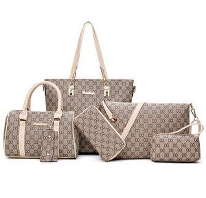 Ücretsiz Kargo 6pcs / set Yeni stil moda kafes omuz çantaları Kadınlar deri çanta crossbody çanta Çanta Bayanlar Totes