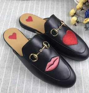 2018 new love and red lipstick slippers series top high leather original bronze gold Italy Leather Size 35-41