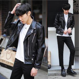 Nouveau mode en cuir PU Veste Printemps Homme Noir Plein Manteaux Hommes Tendance Slim Fit Youth Motorcycle Jacket