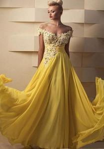 Plus Size Yellow Chiffon Evening Dresses Special Occasion Dress Vestidos De Soiree Party Gowns vestido de novia Floor Length