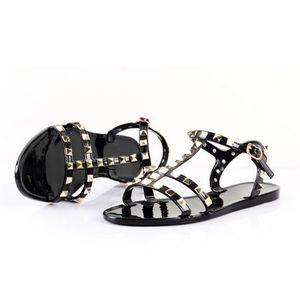 2020 Modedesigner-Frauen-Sommer-Sandalen Rivet große Bowknot Flipflop-Strand-Sandalen Femininas Flach Jelly Designer Sandelholz-Strand-Slipper