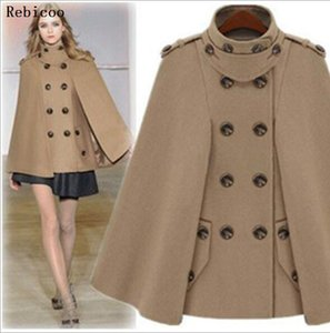 Moda Outono Inverno Mulheres Lã Cabo Fur Coat Collar de lã Mistura Coats encapuçado fêmea Cashmere Poncho Overcoat