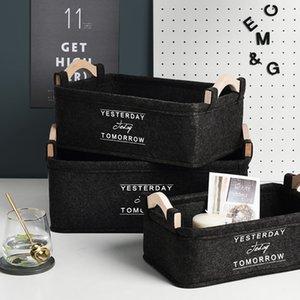 Черный Войлок Ткань для хранения Корзина с ручками Nordic Simple Home Desktop Sundries Организатор кадров Ins Приправа Отделочные корзинка T200602