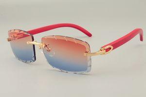 2019 ücretsiz kargo Sıcak Satış kişiselleştirilmiş oyma desen güneş gözlüğü 8300915 doğal kırmızı kol çok gözlük, unisex, lens 3.0 kalınlığı