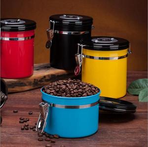 Hermétique grain de café Conteneur en acier inoxydable étanche à l'air scellé Canister avec une cuillère à café de sucre Porte-Beans Conteneur 800ml