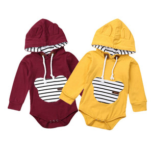 Unisex Newborn Hoodies Rompers Long Sleeve Sweatshirt Baby Girls Clothes Wine Red Yellow One Piece Rompers Boys Active Jumpsuits