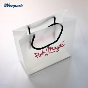 coutume Sac shopping poignée cadeau pp givré / sac en plastique PVC d'emballage
